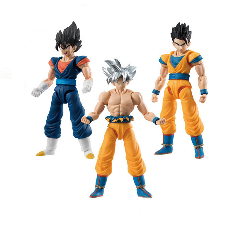 3PCS Dragon Ball Super Ultra Instinct Goku Jiren Figure Japanese Anime Collectible Action Figure Model Decoration Dragon Ball Z