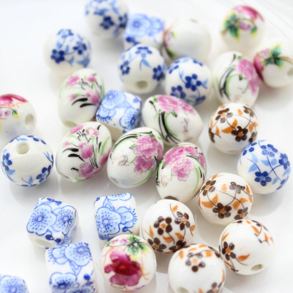 150 Adet 10mm 16mm Mix Renk çiçek Boya Of çin çiçeği Porselen