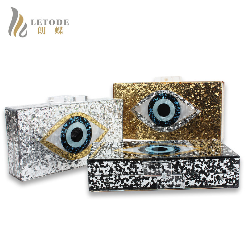 Famous Brand Eyes Print Shiny Evening Clutch Bag For Wedding Party Fashion Women Handbags Acrylic Chain Shoulder Bags Messenger