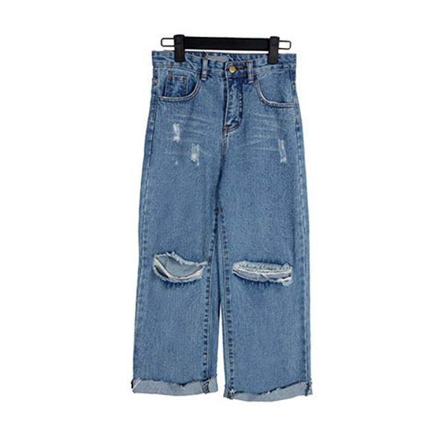 Mulheres Do Vintage de Cintura Alta Buraco Azul Estilo Coreano Calças Jeans calças de Brim das Mulheres Perna Larga Calças para Senhoras