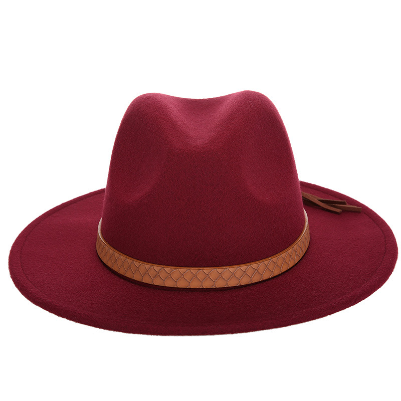 Горячая мода шерстяная шляпа зимняя женская мужская фетровая шляпа широкополый цилиндр шляпы женские винтажные большие Sombrero Джаз открытый кости - Цвет: Wine