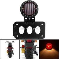 4 Black Billet Aluminum Vertical Side Mount Tail Brake Light Integrated License Plate Bracket For Harley