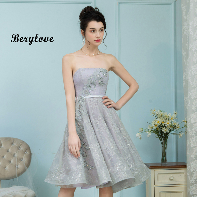 5fc53d16006 BeryLove Short Knee Length Grey Lace Prom Dresses 2018 Sliver Strapless  Prom Gowns Special Occasion Party Dress Graduation