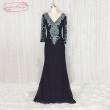 59f7d4b133a Superkimjo Vestidos De Festa бисером Русалка Черное вечернее платье с Камни  с длинным рукавом Элегантная скромные Вечерние плать.