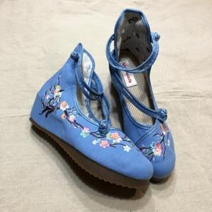 Image 2 - Veowalk Flowers Embroidered Women High Top Canvas Hidden Flat Platforms Ankle Dual Strap Ladies Casual Denim Cotton Shoes