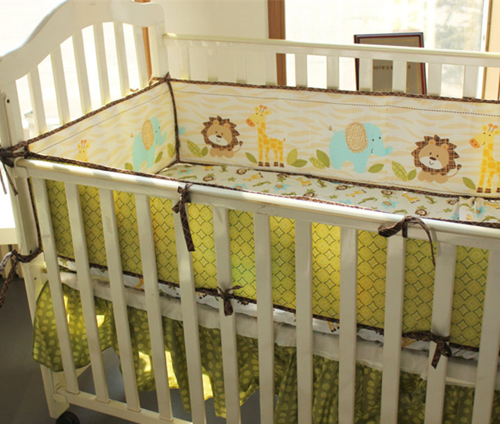 Promotion! 5PCS Newborn baby bedding kit bed around Cot bedding set four sides bumpers for Nursery bedding ,(4bumper+bed cover)