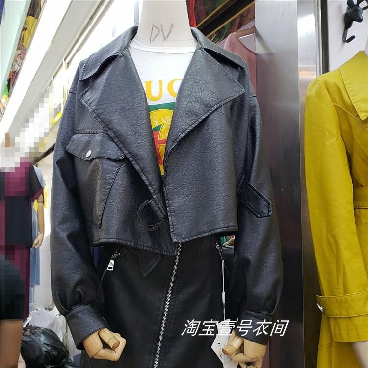 2019 Spring Autumn New Fashion Black Locomotive   Leather   Jacket Women Black / Apricot Pu   Leather   Jackets Short Coat Lady Femme