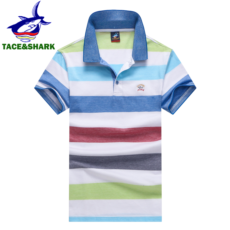 TACE&SHARK Brand Fashion Color Block Stripe   Polo   Casual Male Shark Embroidery Camisa   Polo   Homme High Quality Youth Clothing 2018