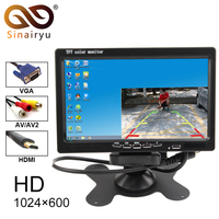 New 7 Inch 1024x600 TFT Color LCD Car Video Parking Monitor With HDMI VGA AV Input CCTV Security Monitor + Remote Control