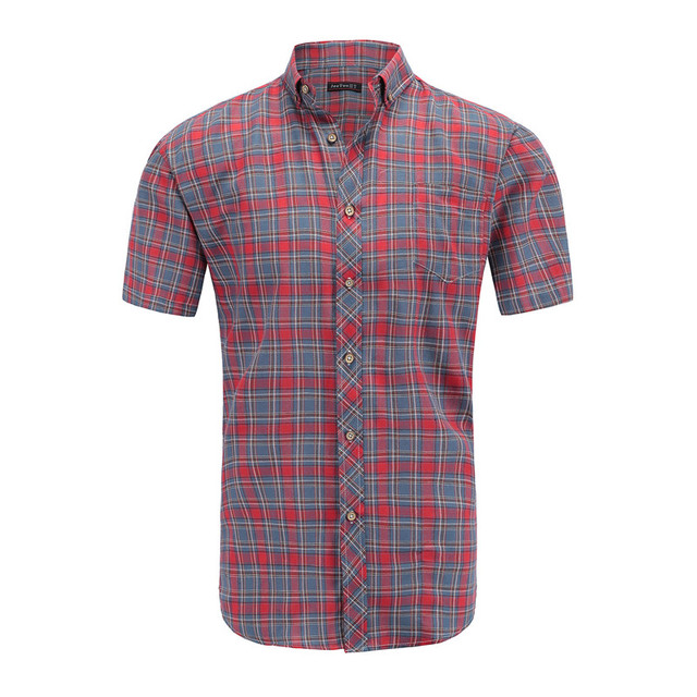 Dioufond Men Vintage Red Plaid Short Shirts Casual Cotton Basic Male Tops Pocket Work Wear Summer Mens Fashion Clothing 2018 3XL