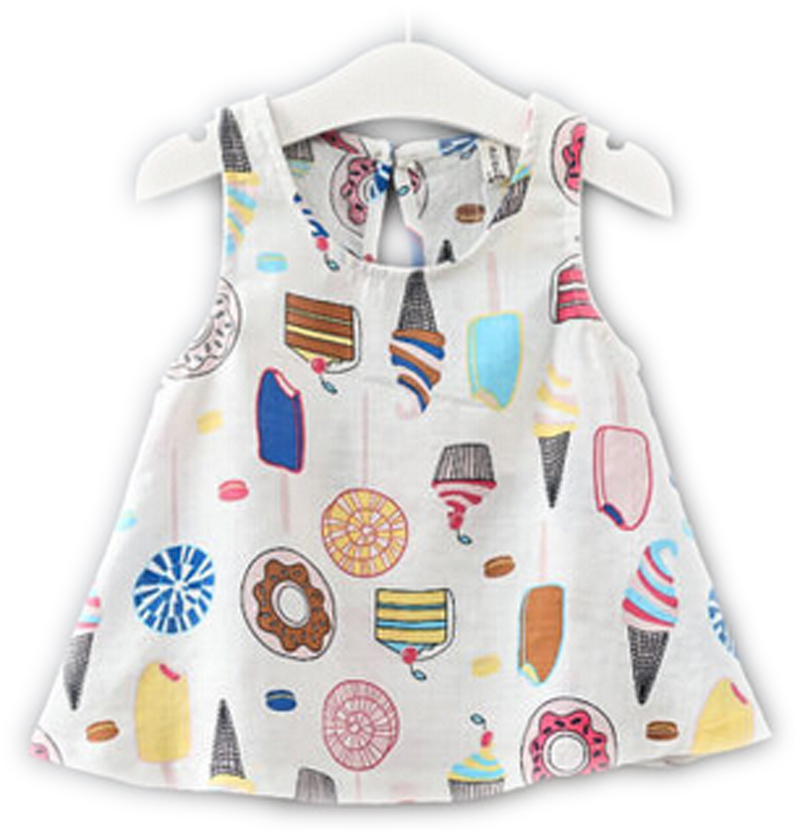 Summer Kids Toddler Girls Blouse Princess Party Wedding Shirt Sleeveless Ice Cream Cotton Long Blouse Cute Clothing Outfit