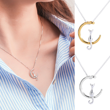 Cat Moon Pendant Necklace Charm Gold Silver Color Link Chain Pet Lucky Jewelry Women Gift lucky eye key lock pendant necklace rose gold silver color chain micro pave zircon necklace jewelry gift for women female ey6401