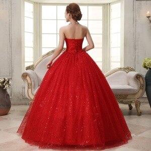 Image 2 - リアルフォトカスタマイズ 2020 韓国スタイル甘いロマンチックな古典的なレース赤王女のウェディングドレスストラップレスマリアージュのウェディングドレス