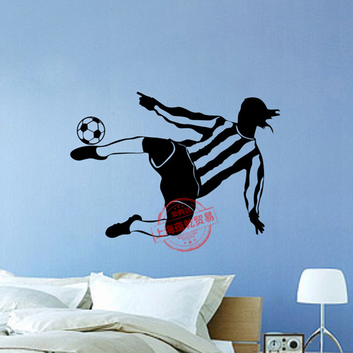 Boys Football Vinyl Wall Sticker Brazil Soccer Player Sport Mural Art Wall Decal Bedroom ...