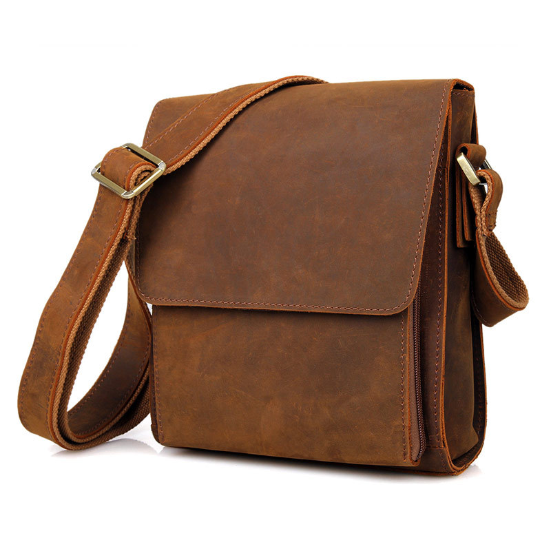 Men's vintage genuine leather iPad messenger bag Thick Cow leather shoulder bag small casual crossbody bag Cowhide Brown #J7055-in Crossbody Bags from Luggage & Bags    2