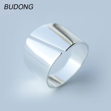 BUDONG Real 925 Sterling Silver Ring for Women Fashion Wide Mid Ring Open Cuff Resizable Ring Fine Jewelry Girl Accesorry