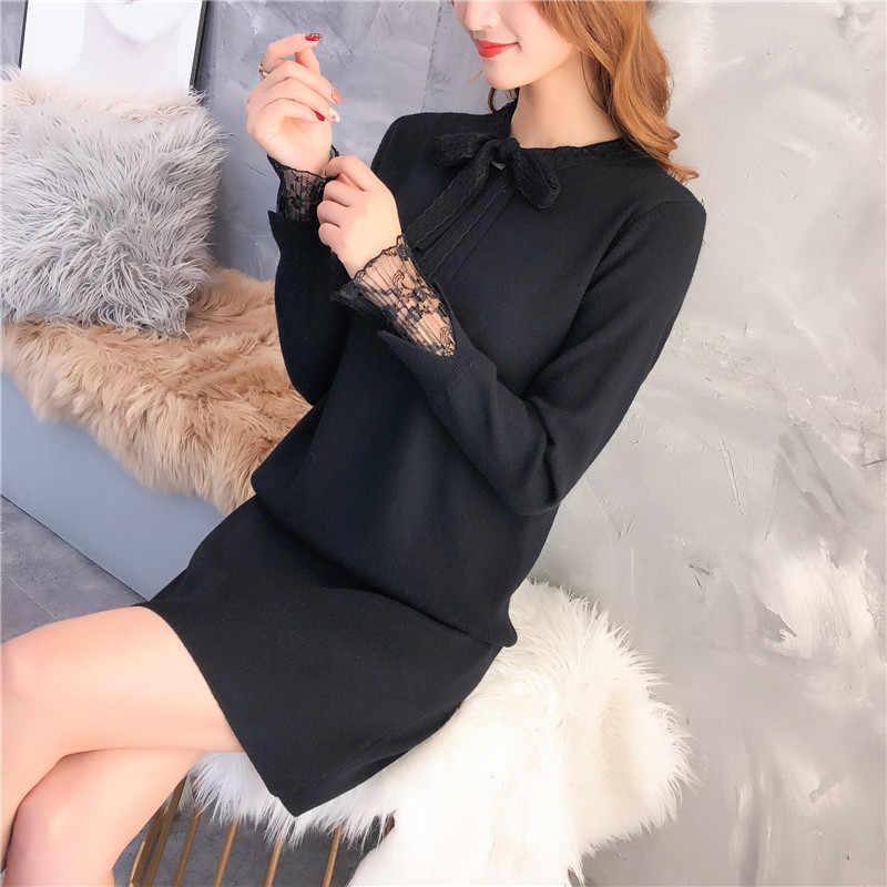 2019 весенне-осенние женские платья-свитера с длинными рукавами женский свободный кружевной пуловер Женский галстук-бабочка сексуальное трикотажное платье W407