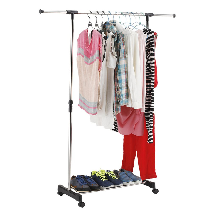 Adjustable Stainless Steel Floor Type Straight Rack Garment Laundry Clothes Clothes Hanger Holder Adjustable Shelves 2 Colors