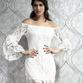 2014 Lace Slash Neck Flare Sleeve Top Fashion Dress Women's Clothing Sexy Low Cut Vestidos Bebe Bloueses Shirt Dress SL0429