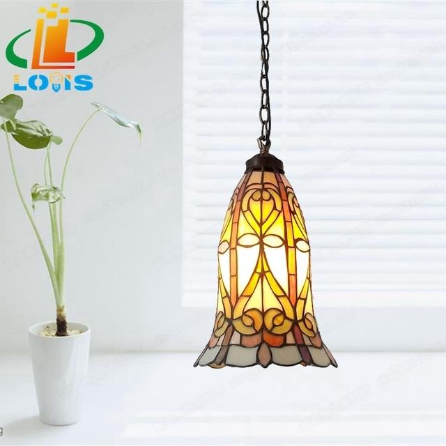 European retro rattan chandelier lamps, Tiffany bedroom kitchen aisle Bar cafe colored glaze nostalgic ornaments hanglampen