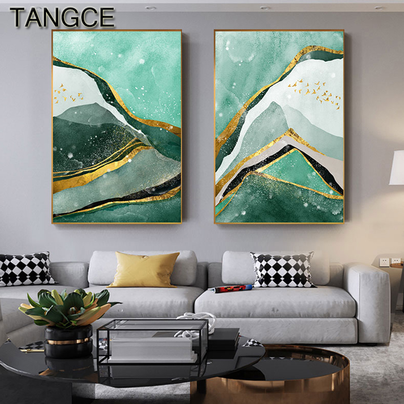 Abstract Golden Foil Green Moutain Painting Tableaux Big Poster Print Modern Wall Art for Living Room Cuadros Salon Decoracion