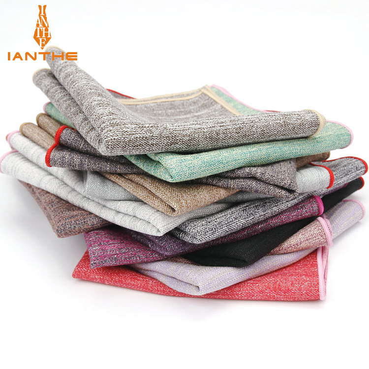 2018 Brand New Men's Fashion Cotton Solid Pocket Squares For Men Handkerchief Wedding Vintage Hanky Suits Pocket Striped Hankies