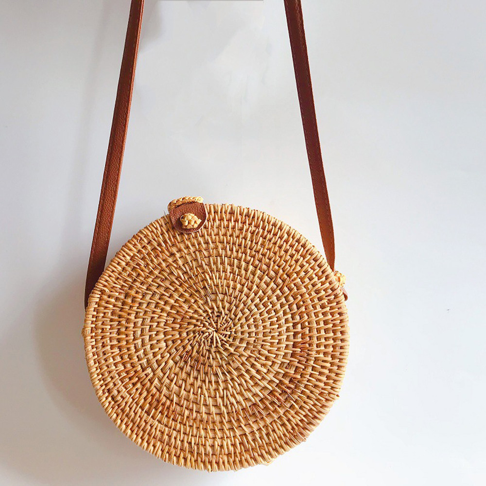 Round Rattan Woven Handmade Shoulder Bags PU Leather Straps Bow Hasp Holiday Beach Crossbody Bag Messengers Women Handbag