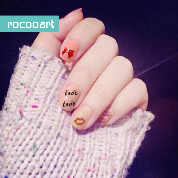 Rocooart Sh225 229 Women Diy Flaming Lips Adhesive Nail Art Sticker