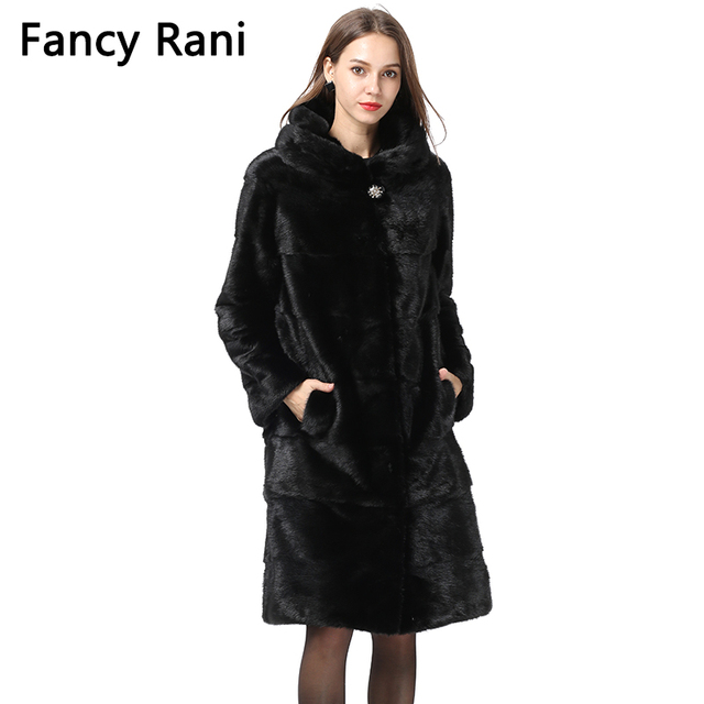 Women Natural Mink Fur Coat Hooded Winter Long Jacket Detachable Cuff/Hem Whole Skin Real Mink Fur Overcoat Oversized Customized