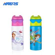Marca Disney Niños Botella Botella de Acero Inoxidable 18/8 Grado Alimenticio Termo niños con Paja libre de BPA A Prueba de Fugas de Silicona 6-12 horas