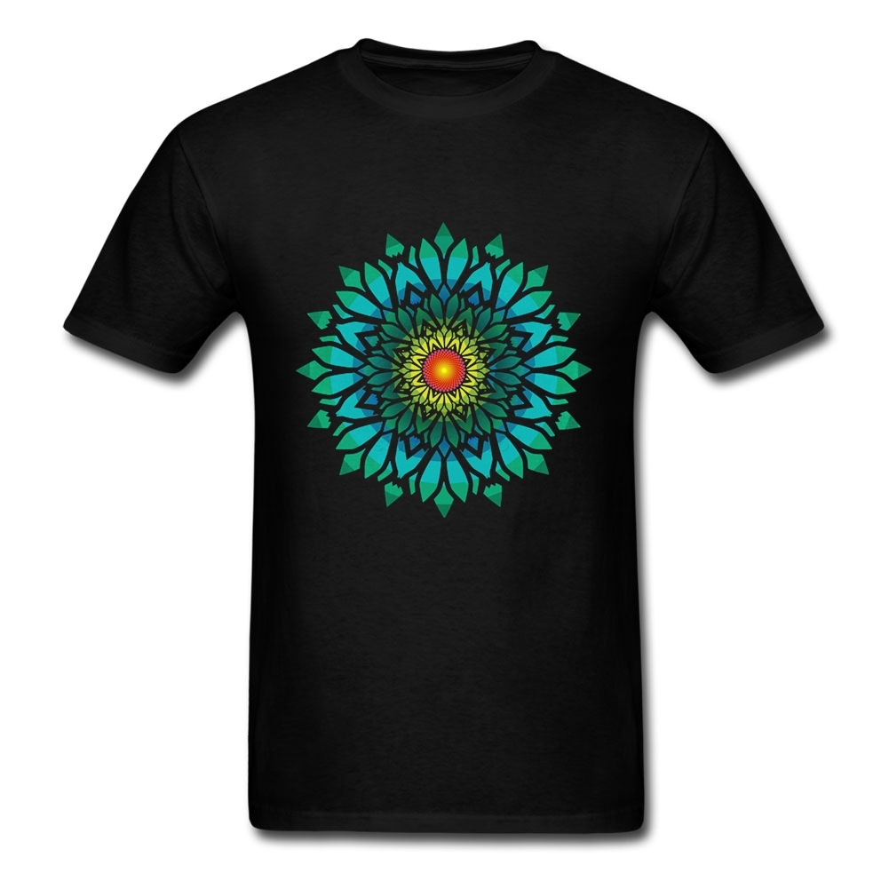 Design your own t-shirt and hats - Short Sleeve Crewneck Cotton Blooming Sun Flower Mandala T Shirt Crazy Party Big Size Design Your Own T Shirt