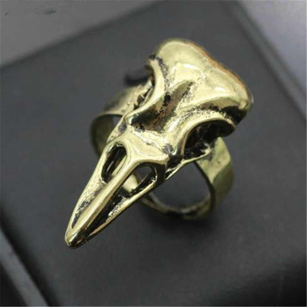 バイキングオーディンカラススカルリングスケルトンゴシック北欧鳥動物スカルリング異教お守りカラスイーグル男性のリング