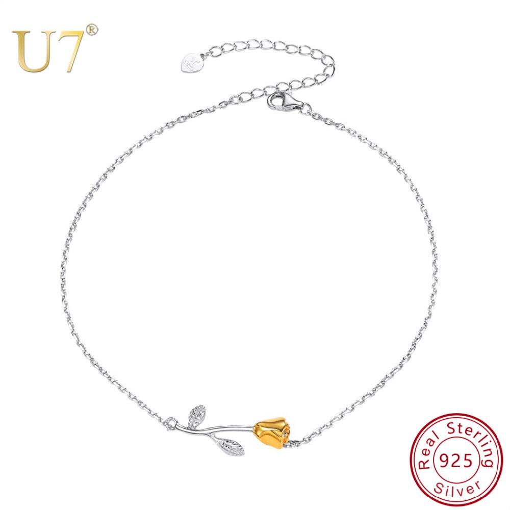 U7 925 Sterling Silver Anklet Women Barefoot Leg Chain Rose Flower Charm Foot Bracelet Summer Beach Slipper Jewelry Adjustable