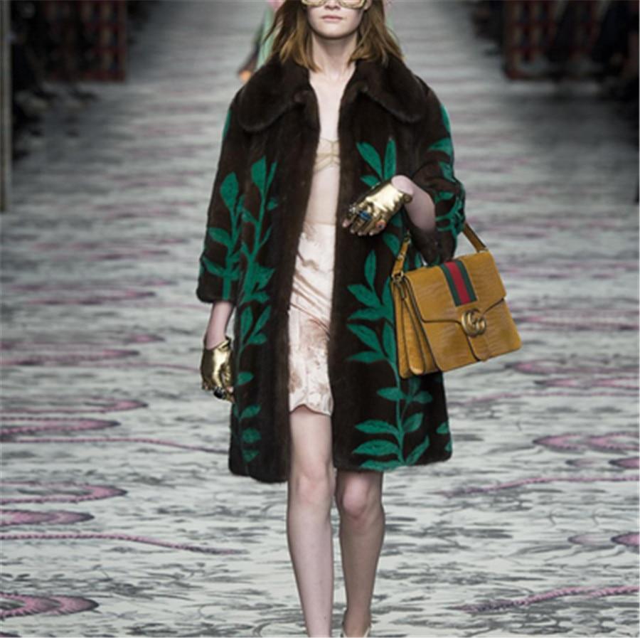 AAA 2017 imported mink fur coat women winter full skin mink fur coat with turn-down collar