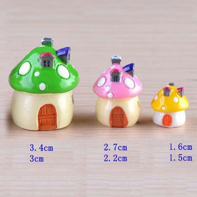 Mediterranean House Mushroom Castle DIY Resin Fairy Garden Craft Decoration  Miniature Micro Gnome Terrarium Gift 3Sizes