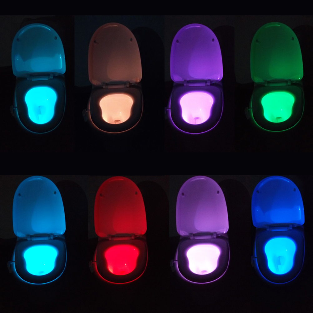 Automatic night lights decorative - Led Toilet Light Motion Activated Pir 8 Colours Automatic Rgb Nigh Bathroom Night Lamps Toilet Bowl Light Creative Night Lights