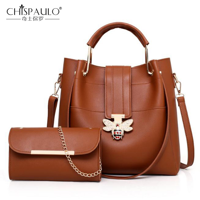 composite bag fashion Women Handbags PU Leather Messenger Bags Ladies Famous Brand Designs Bags 2 Pcs/Set Women Messenger Bag pongwee 2017 women messenger bags handbag set pu leather composite bag women bag top handle bags female famous brand