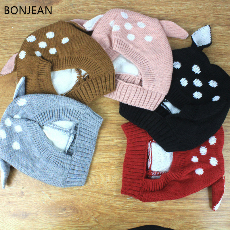 Bonjean New Knitted Baby Hat Ear Cartoon Winter Baby Hat Fashionable Cute Warm Ear Protective Hat