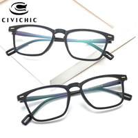 CIVICHIC Hot Trend TR90 Goggles Blue Film Plated Flat Glasses Unisex Optical Frame Eyewear Brand Designer Clear Lens Gafas E295