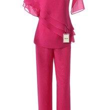 Yabreny Мода Шифон мама Невесты Брючный костюм 2 ШТ. Наряд Розовый Красный MT001702-1