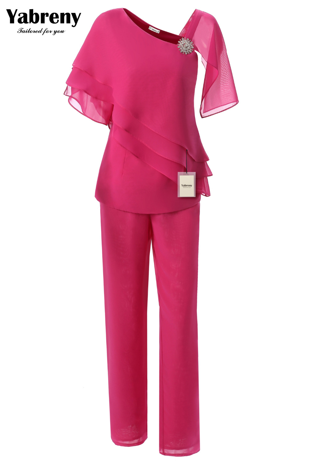 Yabreny Fashion Chiffon Mother of the Bride Pants suit 2PC Outfit Rose Red MT001702-1