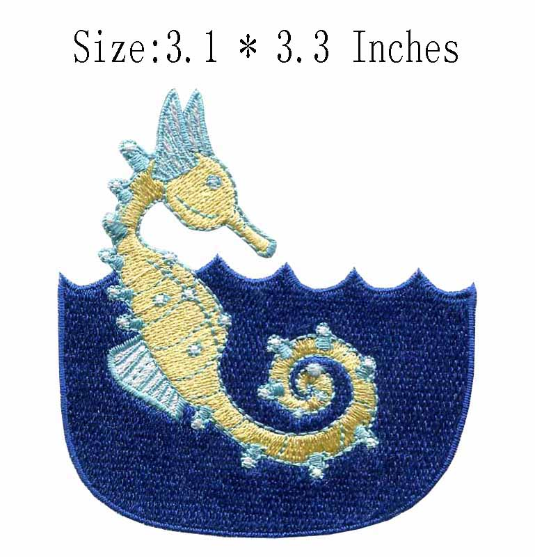 The sea horse 3.1wide embroidery patch for patch for clothes/applique embroidery/rocker patches