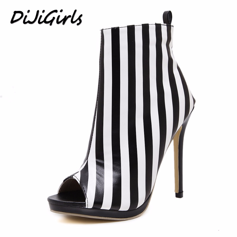 DijiGirls New women pumps fashion stripe high heels shoes woman party wedding stilettos peep toe summer boots shoes size 35-40 цены онлайн