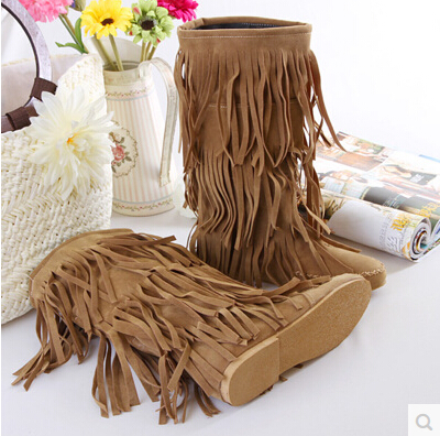 Hospitable 2015 New Fashion Sweet Lady Korean Version Of The Sub-fringed Boots Snow Boots With Thick Bottom Round Flat Shoes
