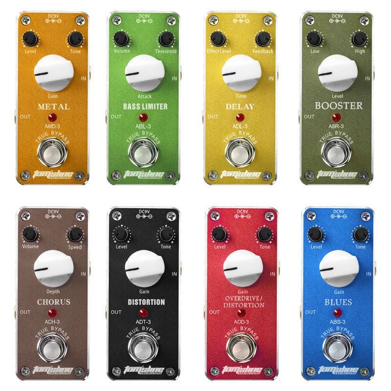 8pcs aroma mini electric guitar effect pedal distortion bass limiter booster chorus delay blues. Black Bedroom Furniture Sets. Home Design Ideas