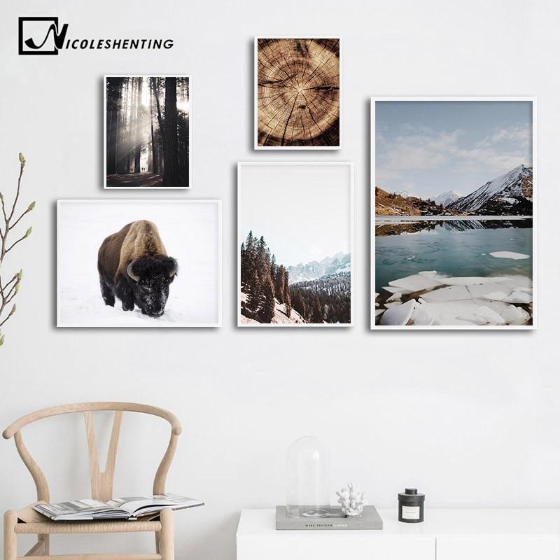 Scandinavian Poster Nordic Landscape Print Winter Mountain Sunbeam Wall Art Canvas Painting Nature Picture Living Room Decor