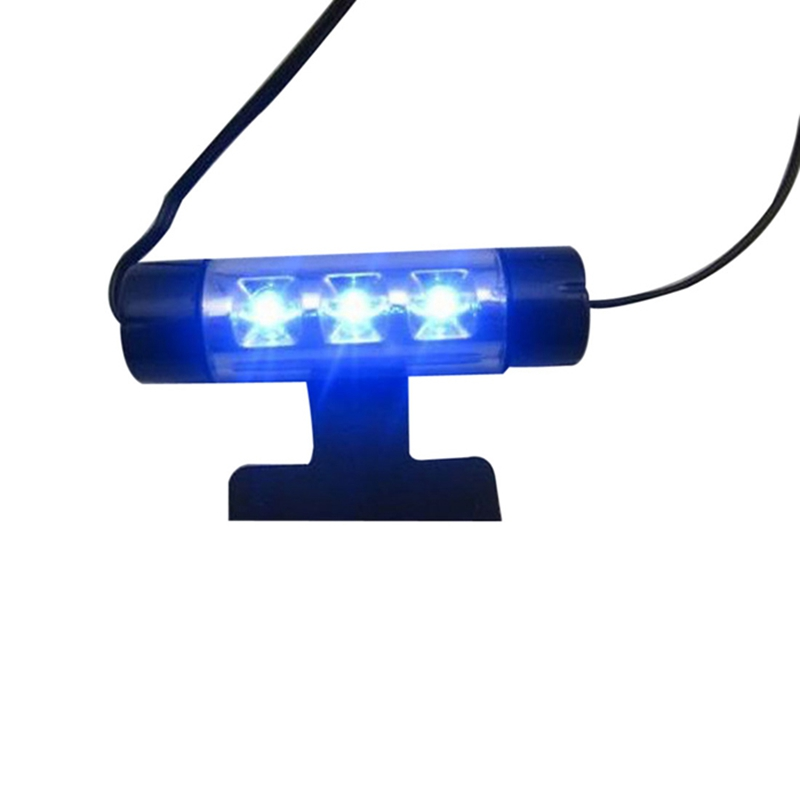 Fashion Perfect Design 4x 3LED Car Charge 12V Glow Interior Decorative 4in1 Atmosphere Blue Light Lamp
