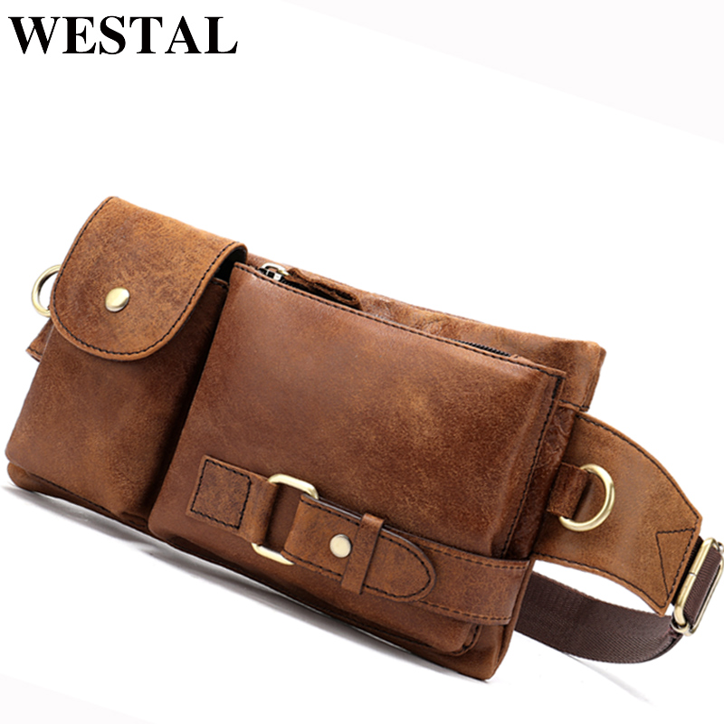 WESTAL Messenger-Bag Bags Chest-Pack Phone Travel Male Men for Men's Genuine-Leather