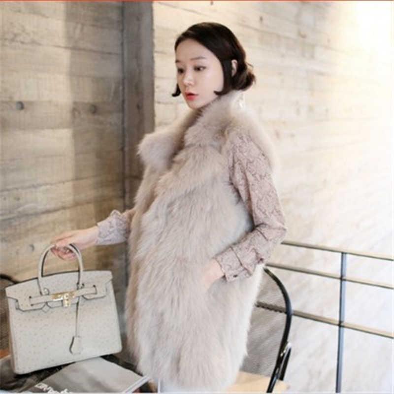 S-4XL 2018 mới mùa thu mùa đông của phụ nữ lớn kích thước áo lông thú lỏng giả fox tóc ấm lông thú giả vest nữ lớn kích thước lông vest J909