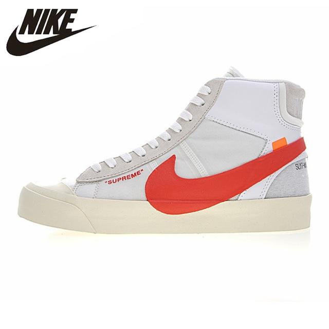 NIKE BLAZER MID Men Skateboarding Shoes , White, Wraparound, Non-slip, Wear-resistant, Balanced AA3832-006